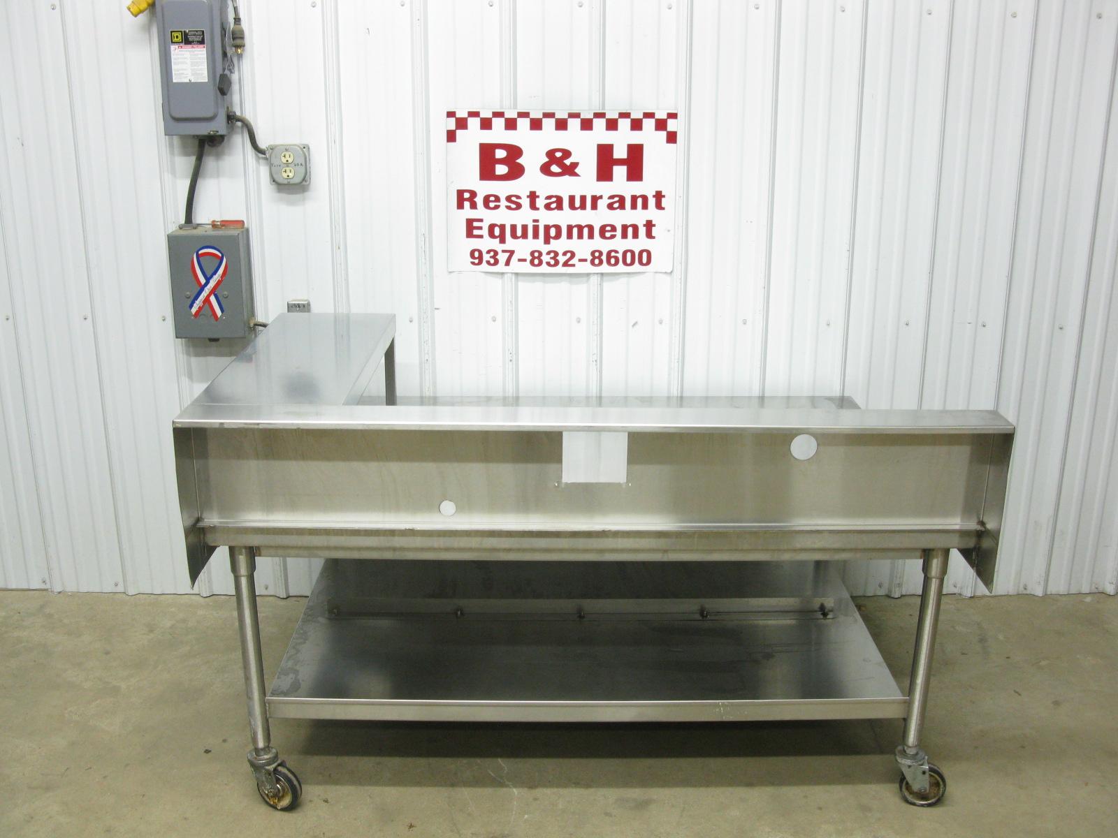 60u2033 x 45u2033 stainless steel griddle grill fryer equipment stand 5u2032 table w shelf
