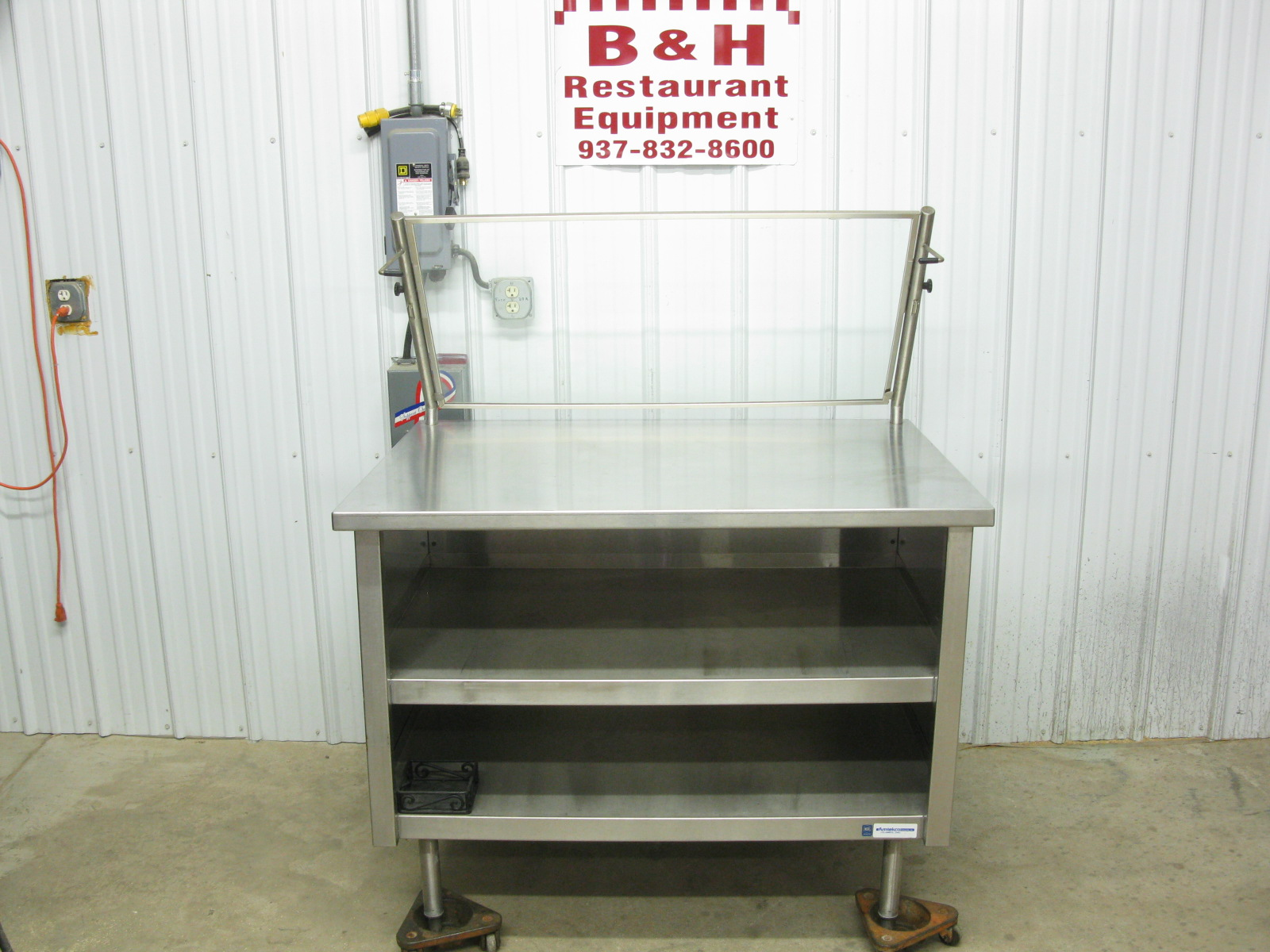 X Display Sneeze Guard Stainless Steel Cabinet Work Prep - 36 x 48 stainless steel table