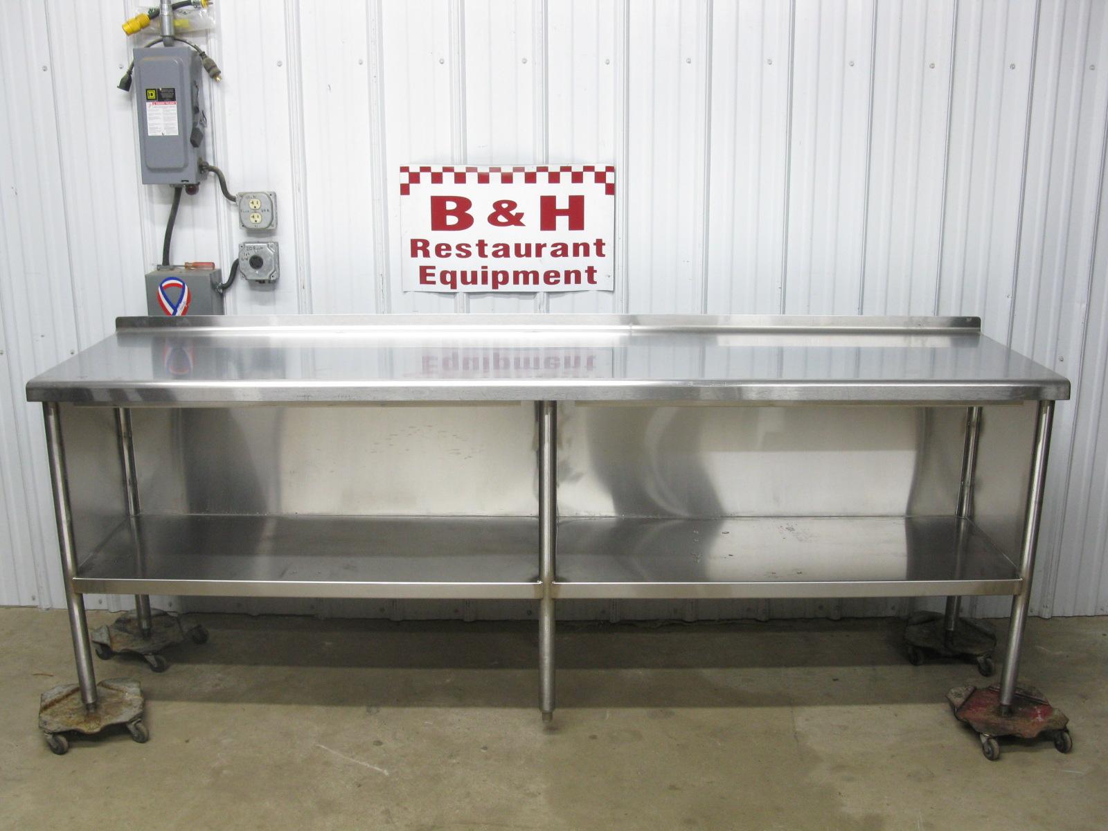 96 X 24 Stainless Steel Heavy Duty Kitchen Cabinet Work Prep Table 8 X 2 B H Restaurant Equipment